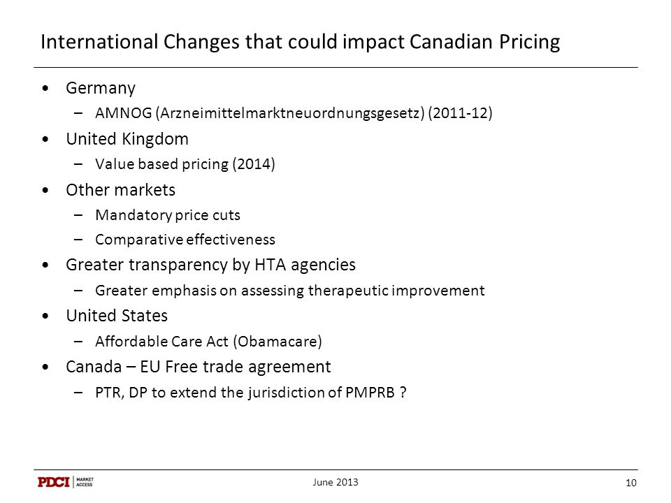 International Changes that could impact Canadian Pricing