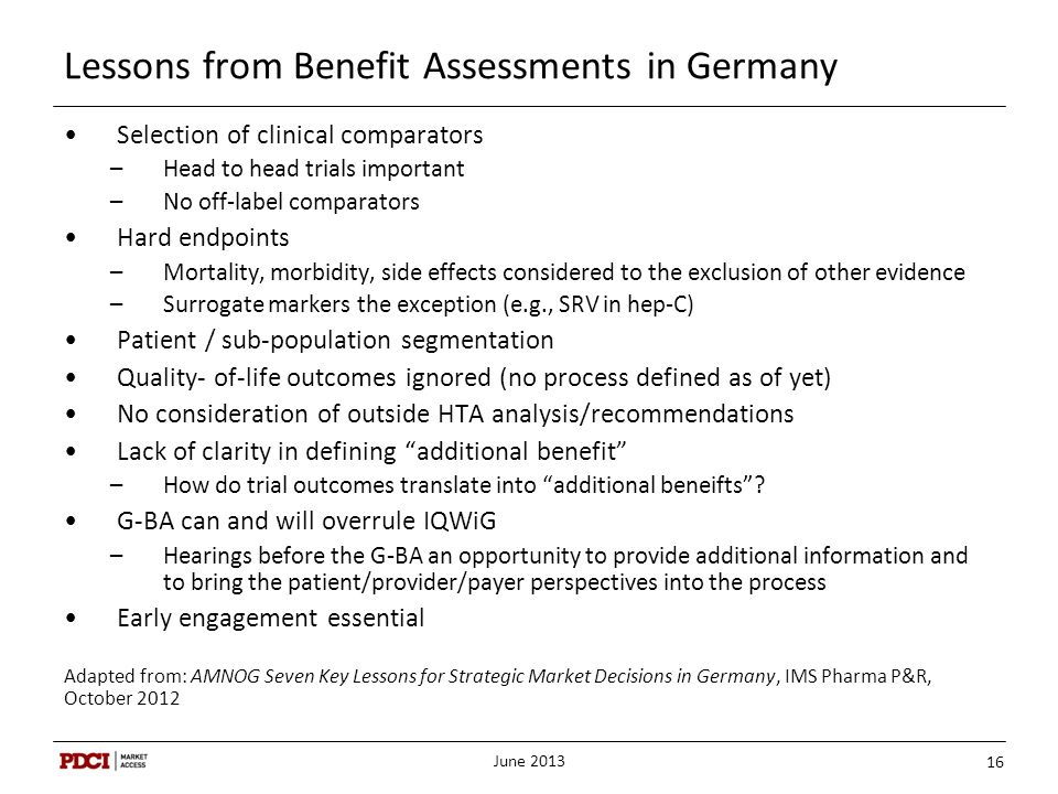 Lessons from Benefit Assessments in Germany