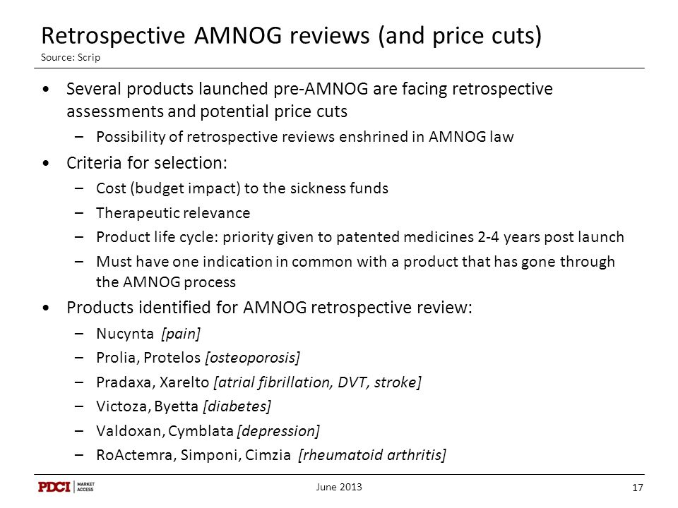 Retrospective AMNOG reviews (and price cuts) Source: Scrip