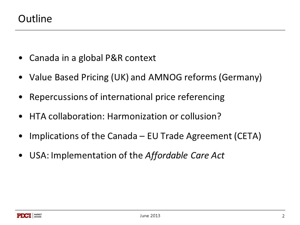 Outline Canada in a global P&R context