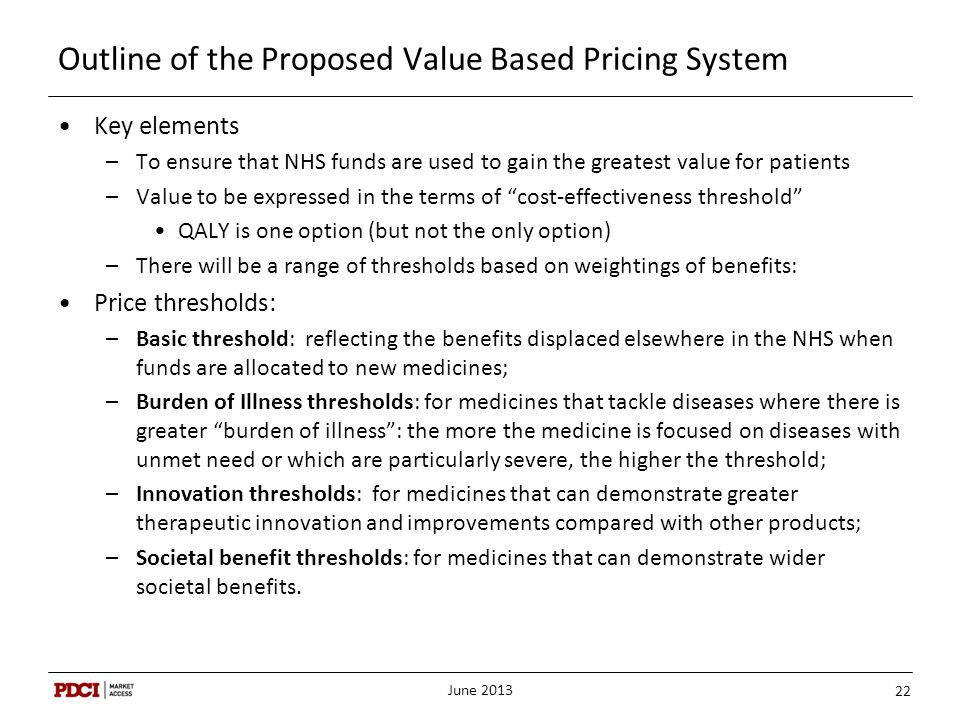 Outline of the Proposed Value Based Pricing System