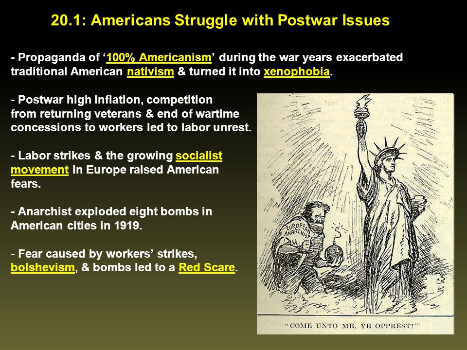 20.1: Americans Struggle with Postwar Issues