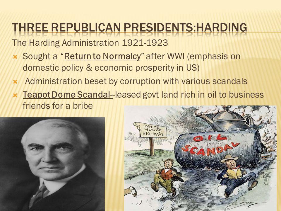 Three Republican Presidents:Harding