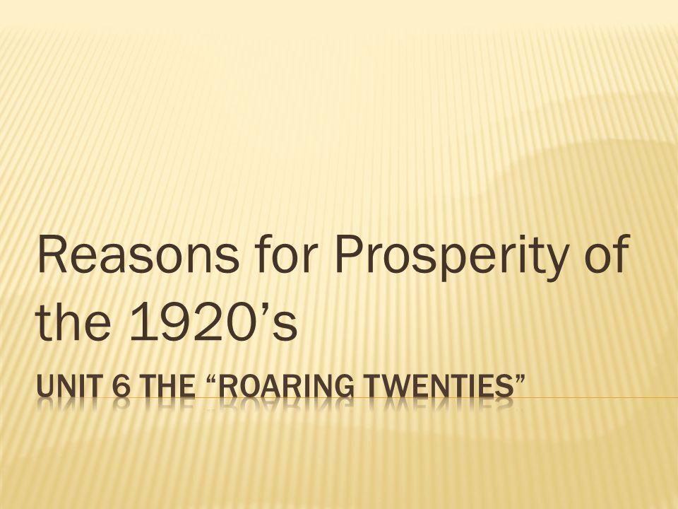 Unit 6 The Roaring Twenties