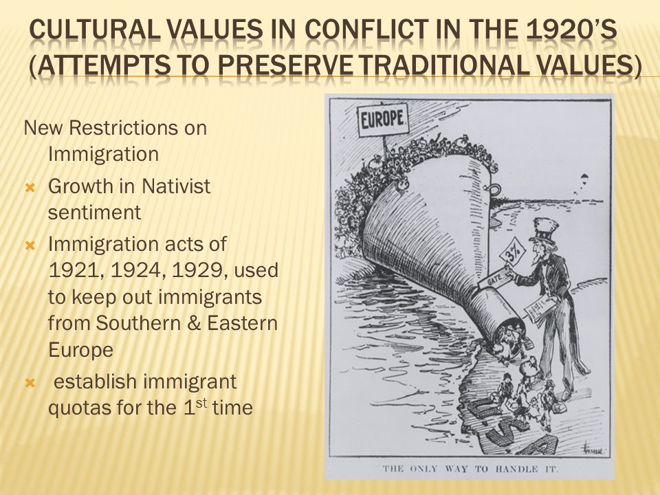 Cultural Values in Conflict in the 1920's (Attempts to Preserve Traditional Values)