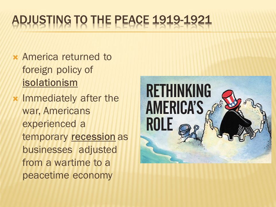 Adjusting to the Peace 1919-1921