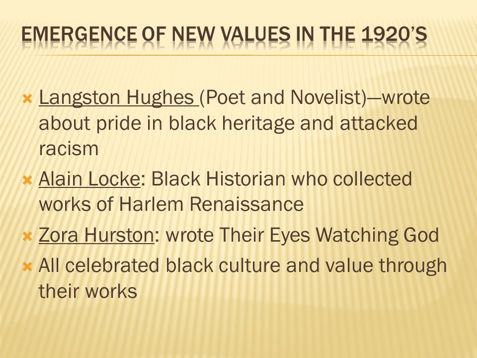 Emergence of New values in the 1920's