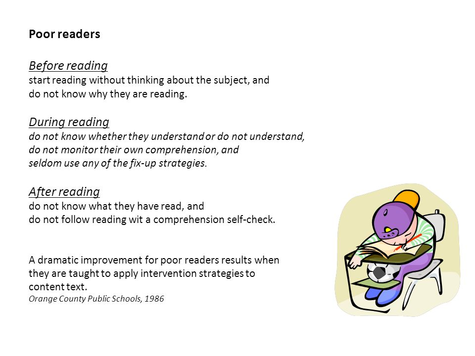 Poor readers Before reading During reading After reading