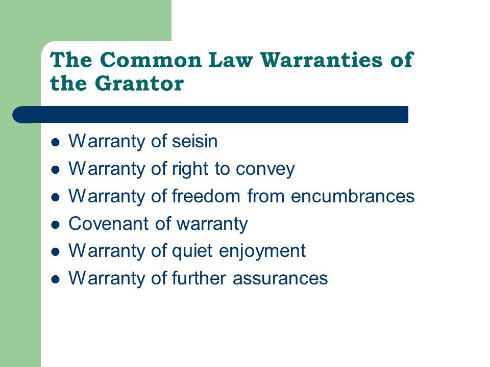 The Common Law Warranties of the Grantor