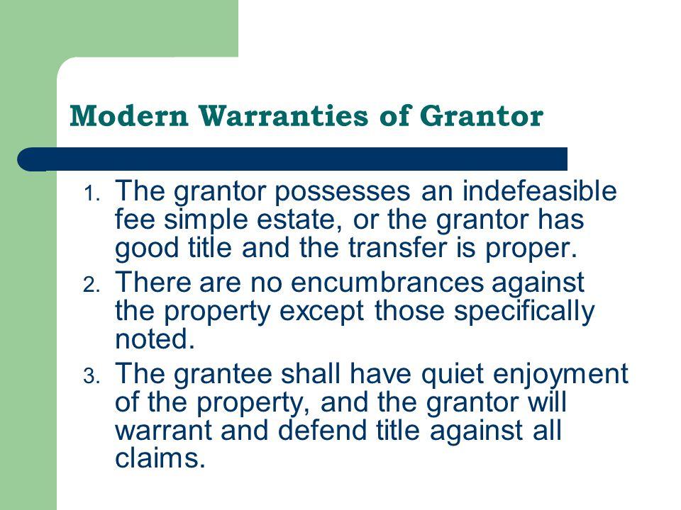 Modern Warranties of Grantor