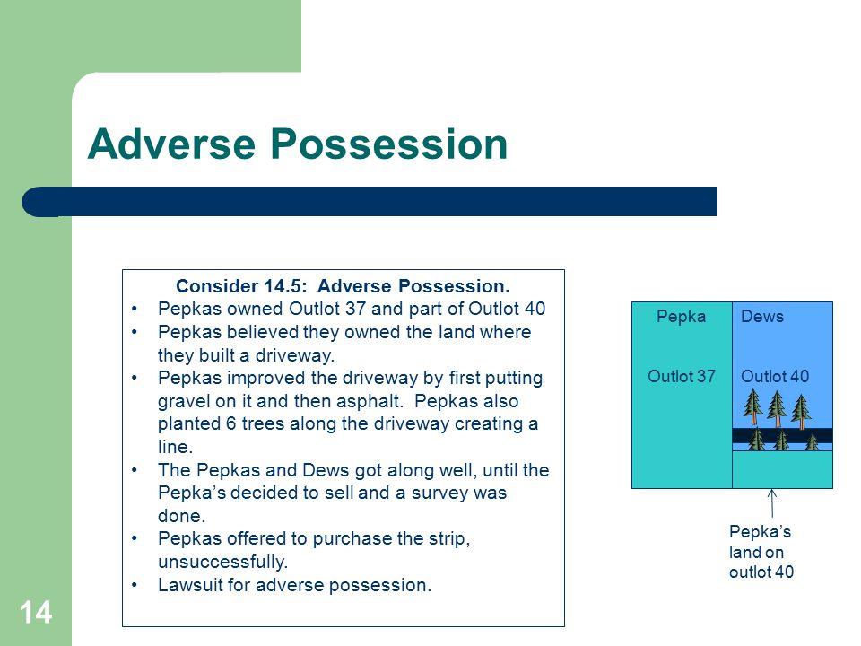 Consider 14.5: Adverse Possession.