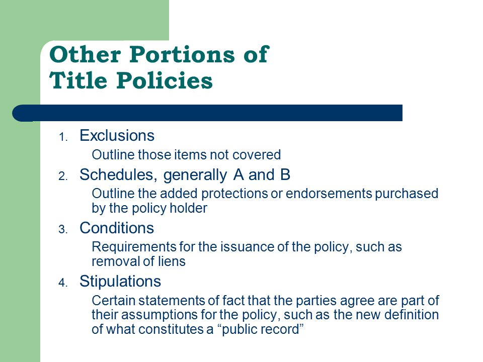 Other Portions of Title Policies