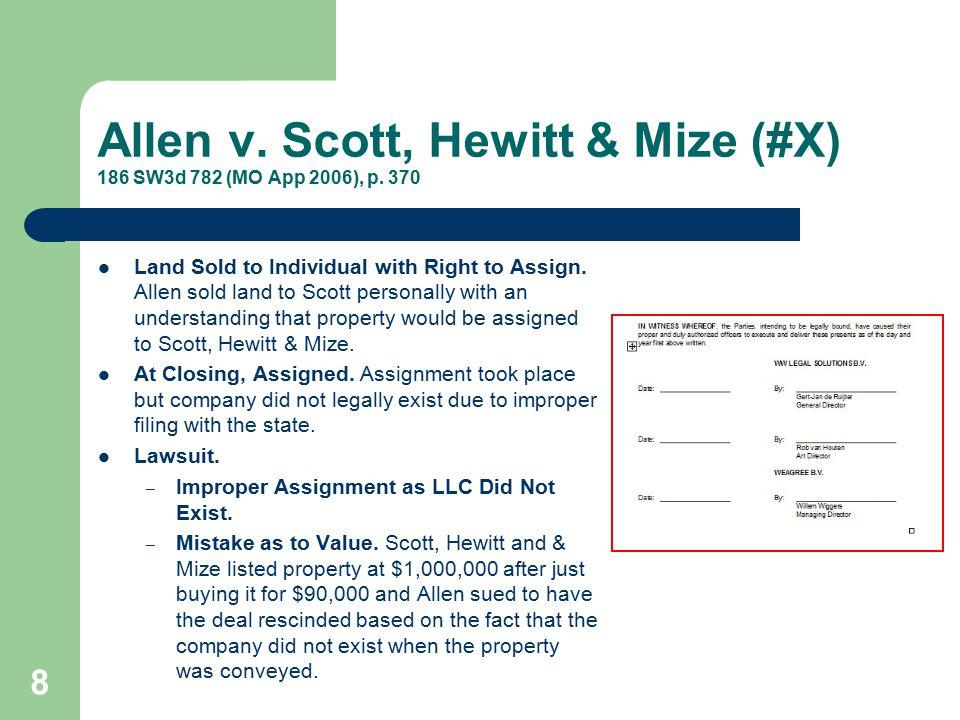 Allen v. Scott, Hewitt & Mize (#X) 186 SW3d 782 (MO App 2006), p. 370