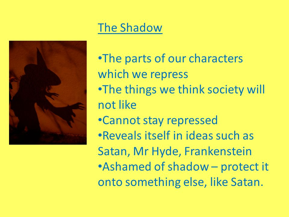 The Shadow The parts of our characters which we repress. The things we think society will not like.