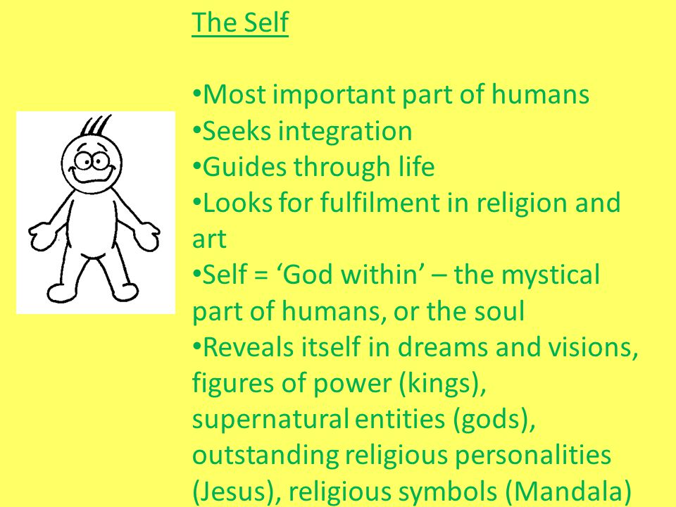 The Self Most important part of humans. Seeks integration. Guides through life. Looks for fulfilment in religion and art.