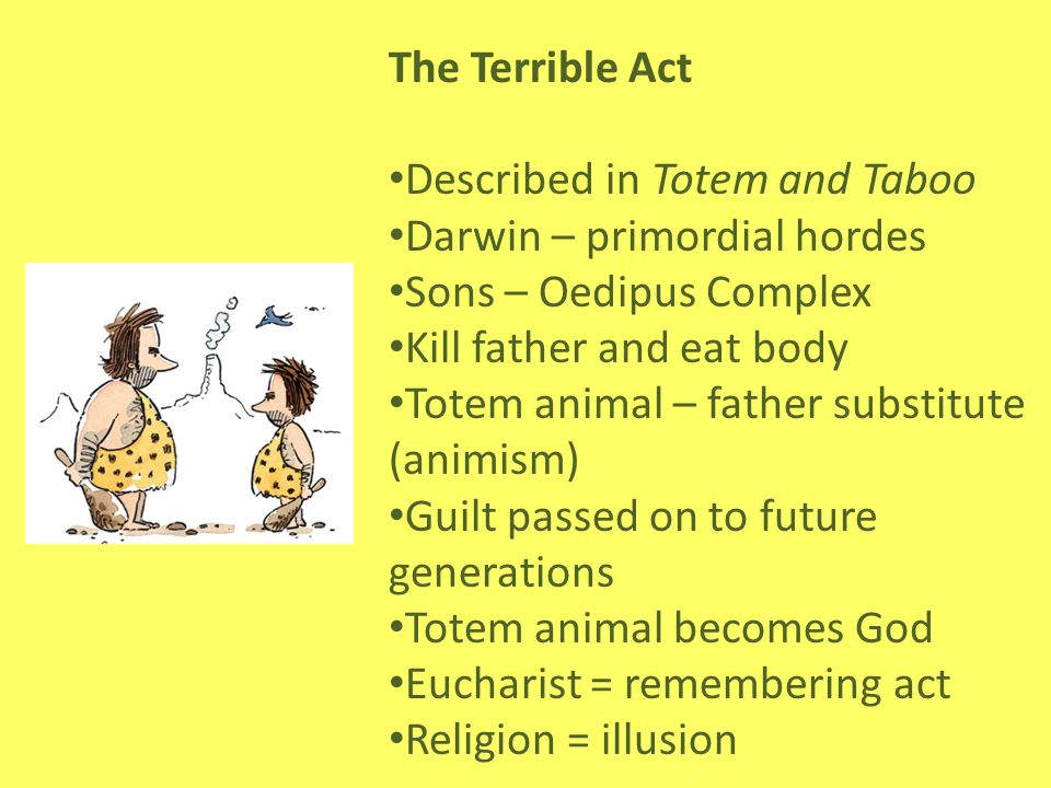 The Terrible Act Described in Totem and Taboo. Darwin – primordial hordes. Sons – Oedipus Complex.