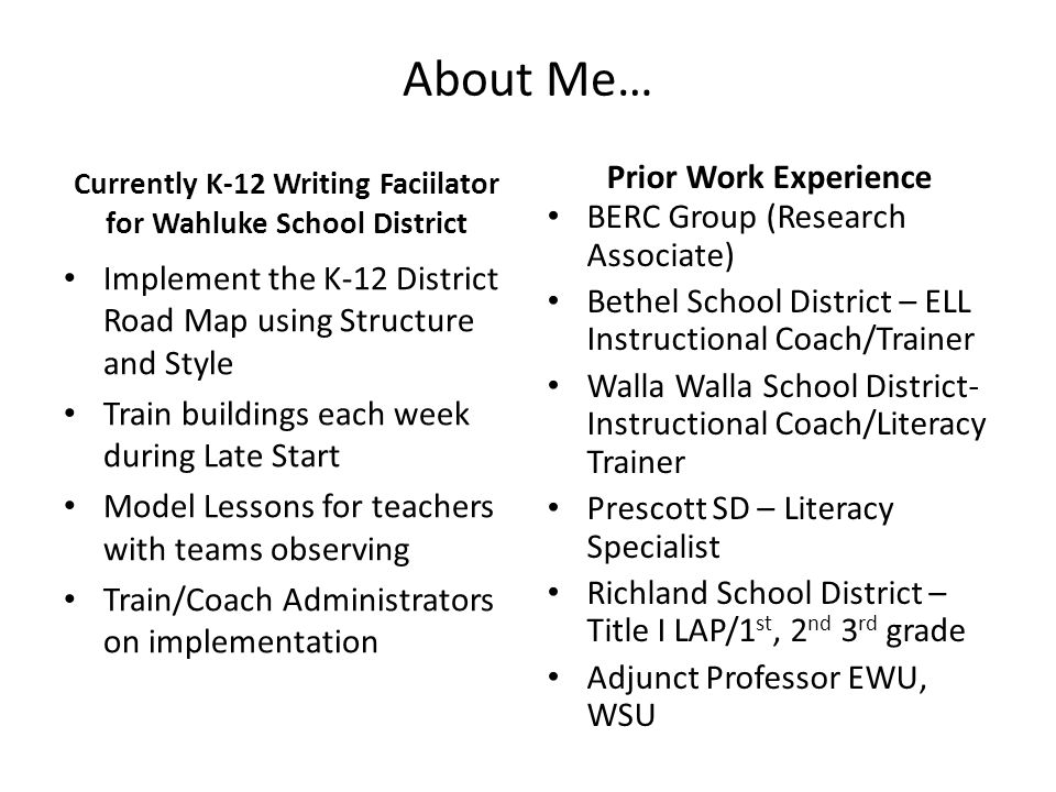 Currently K-12 Writing Faciilator for Wahluke School District