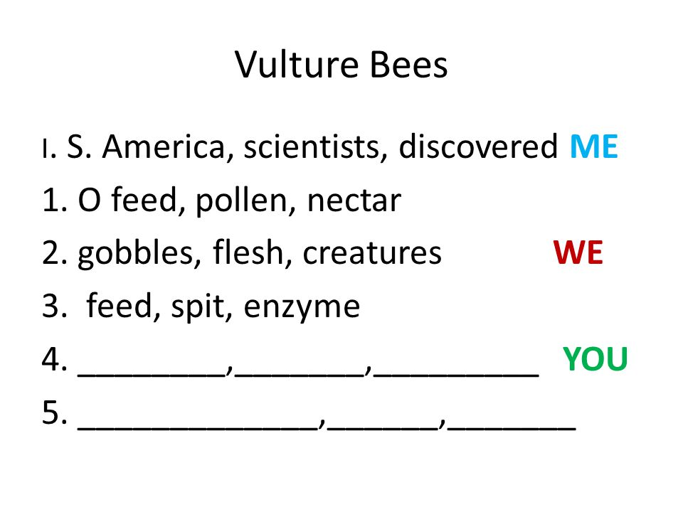 Vulture Bees 1. O feed, pollen, nectar 2. gobbles, flesh, creatures WE