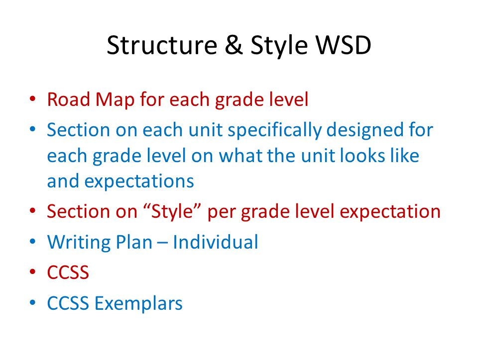 Structure & Style WSD Road Map for each grade level