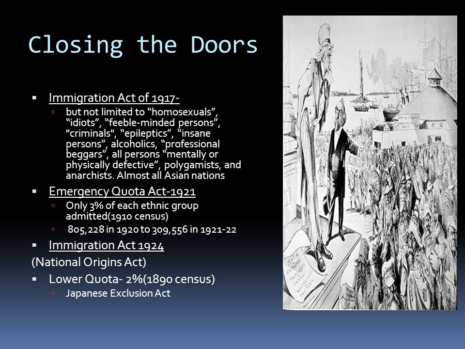 Closing the Doors Immigration Act of 1917- Emergency Quota Act-1921