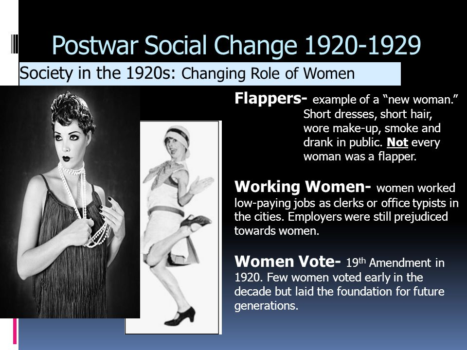 women s roles in the 1920s Start studying chapter 13: postwar social change (1920-1929) how did women's roles change during the 1920s women took jobs.