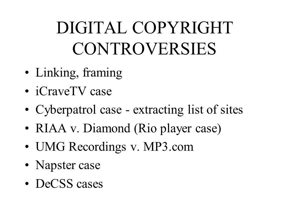 DIGITAL COPYRIGHT CONTROVERSIES