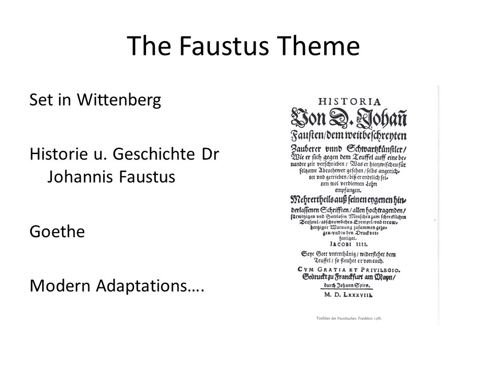 The Faustus Theme Set in Wittenberg Historie u.