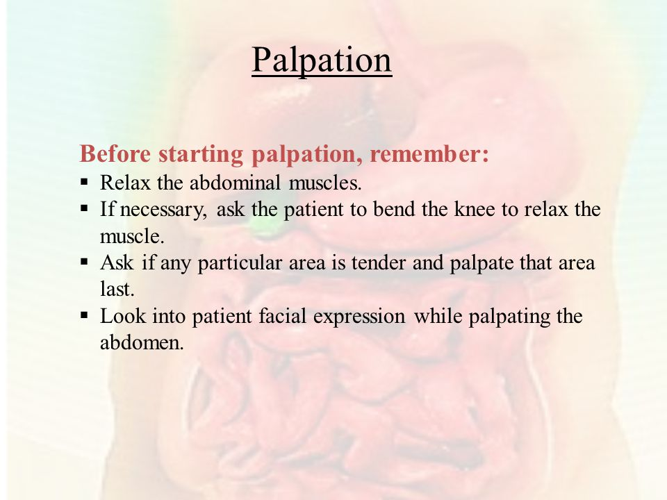 Palpation Before starting palpation, remember: