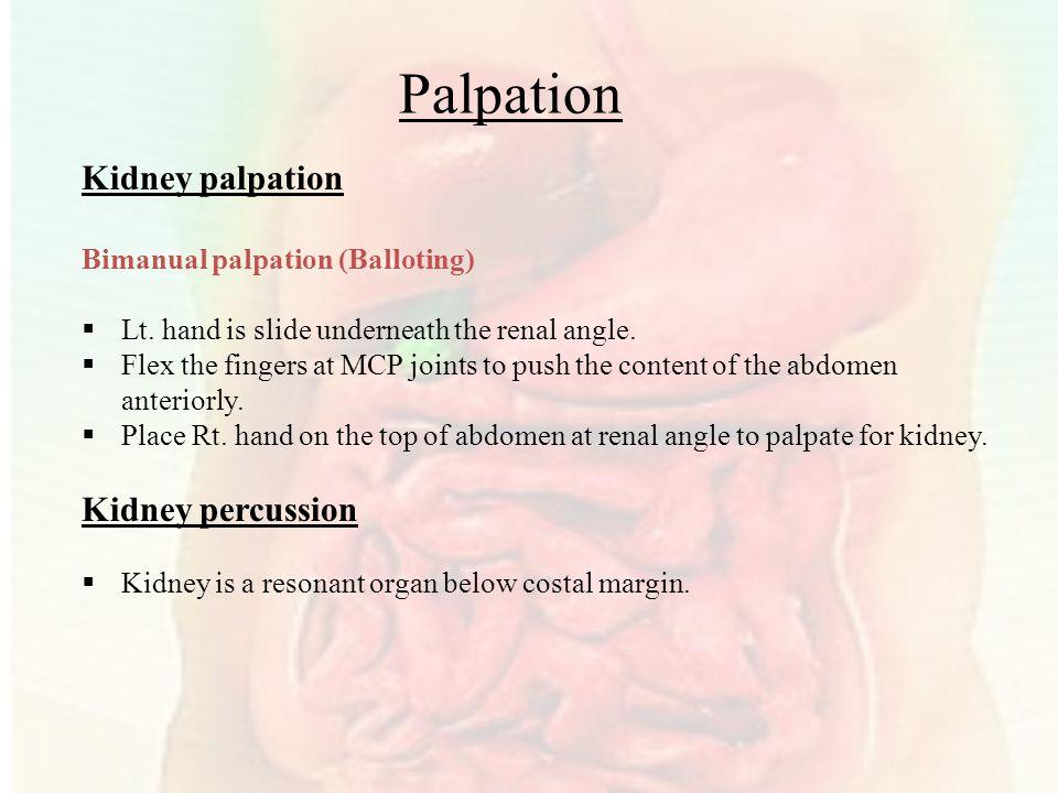 Palpation Kidney palpation Kidney percussion