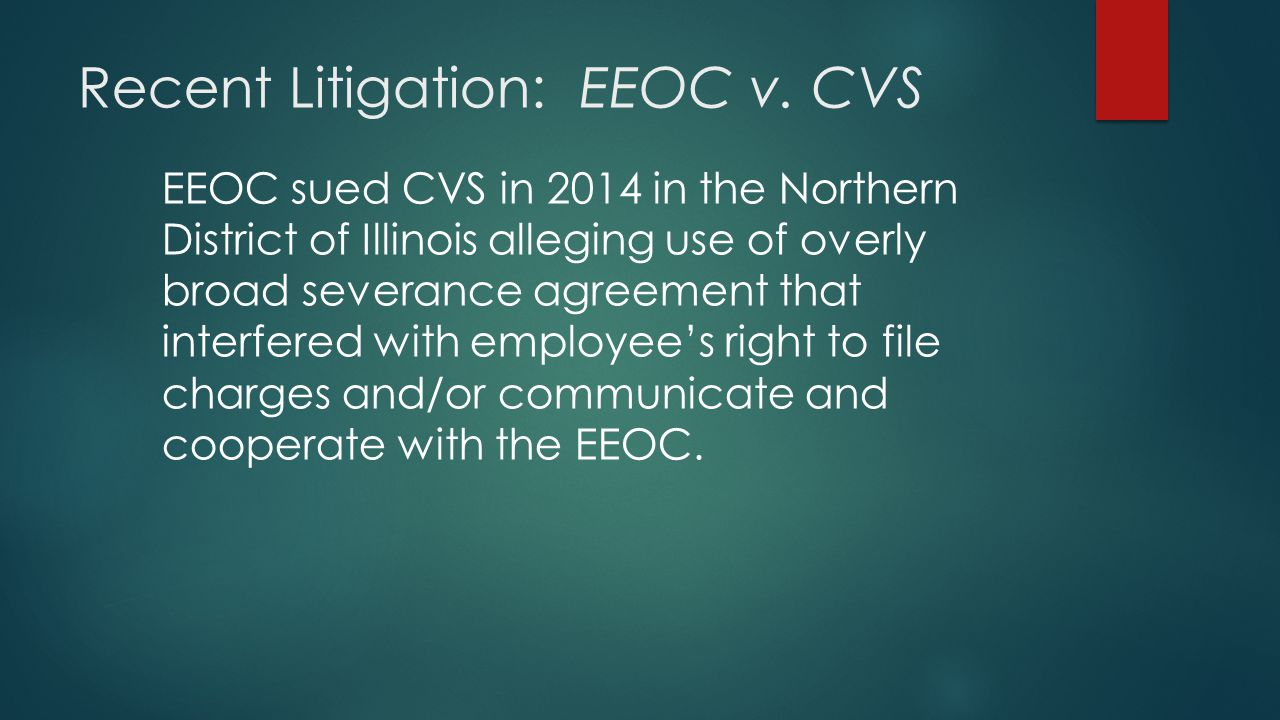 Recent Litigation: EEOC v. CVS