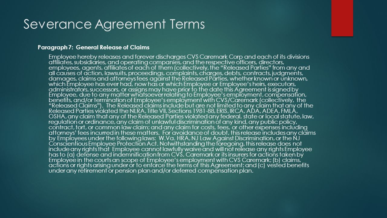 Severance Agreement Terms