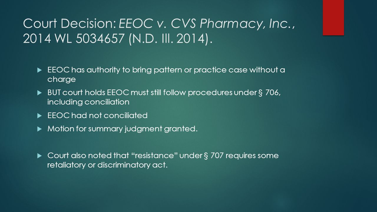 Court Decision: EEOC v. CVS Pharmacy, Inc., 2014 WL 5034657 (N.D. Ill. 2014).