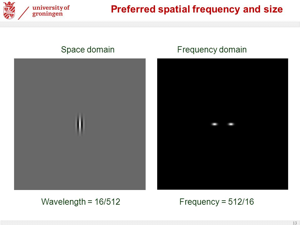 Preferred spatial frequency and size