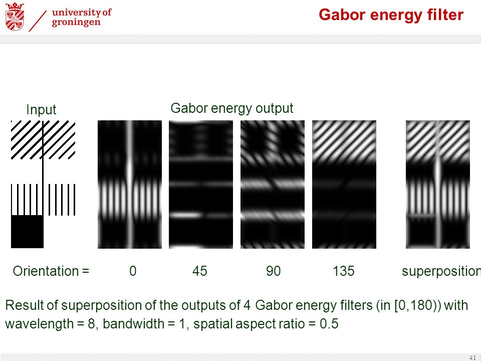 Gabor energy filter Input Gabor energy output