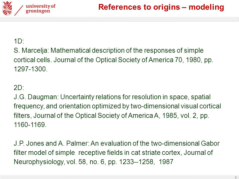 References to origins – modeling