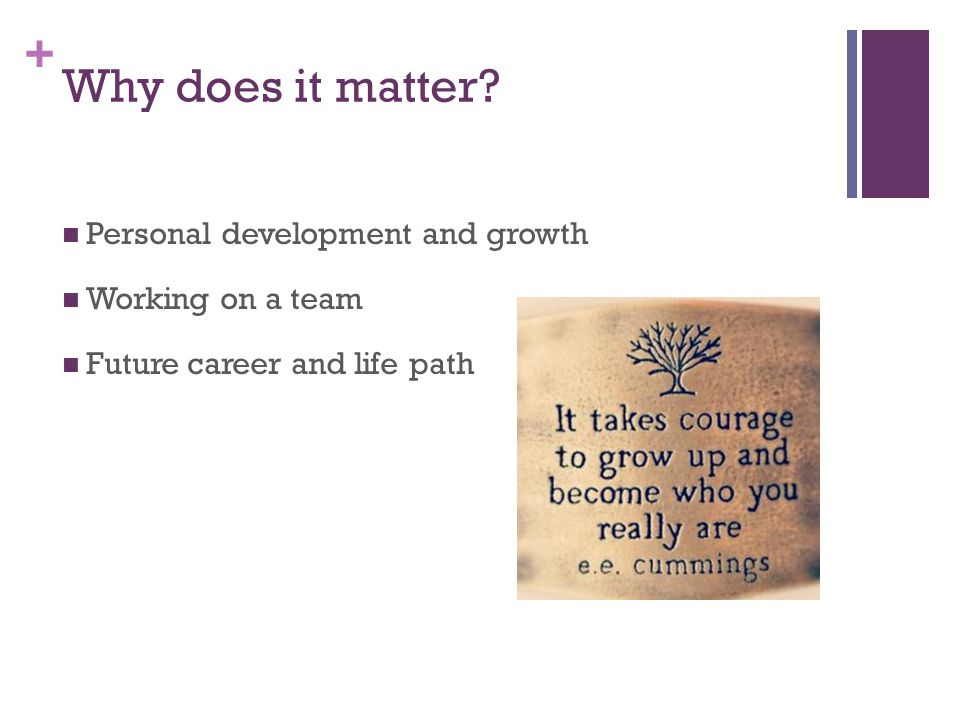 Why does it matter Personal development and growth Working on a team
