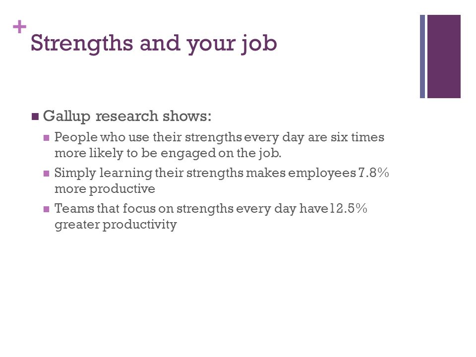 Strengths and your job Gallup research shows: