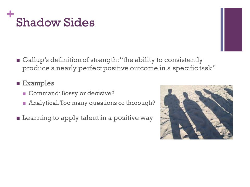 Shadow Sides Gallupu0027s Definition Of Strength: The Ability To Consistently  Produce A Nearly Perfect Positive