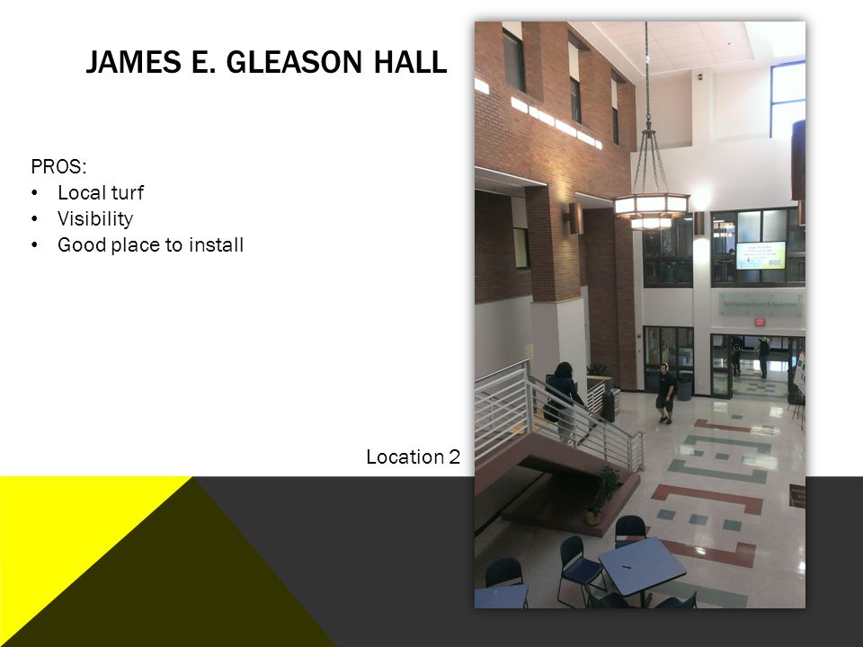 James E. Gleason Hall PROS: Local turf Visibility