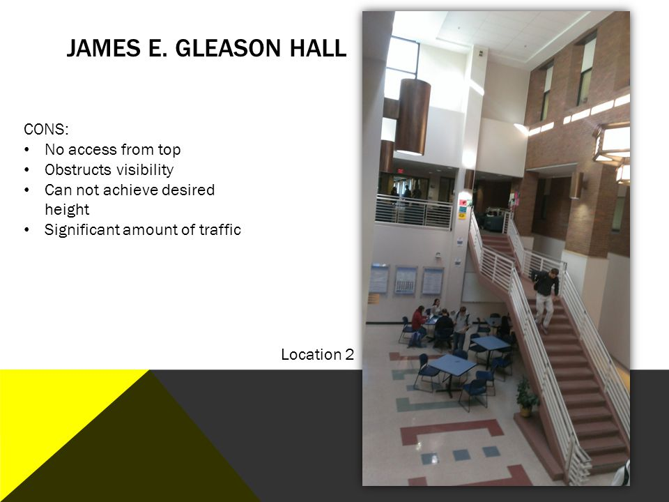 James E. Gleason Hall CONS: No access from top Obstructs visibility