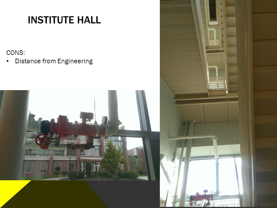 Institute hall CONS: Distance from Engineering