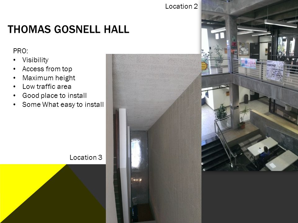 Thomas Gosnell Hall Location 2 PRO: Visibility Access from top