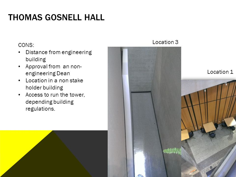 Thomas Gosnell Hall Location 3 CONS: