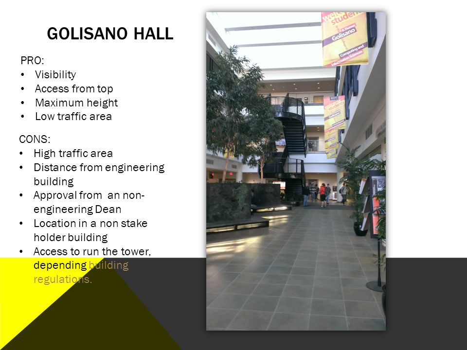 Golisano Hall PRO: Visibility Access from top Maximum height