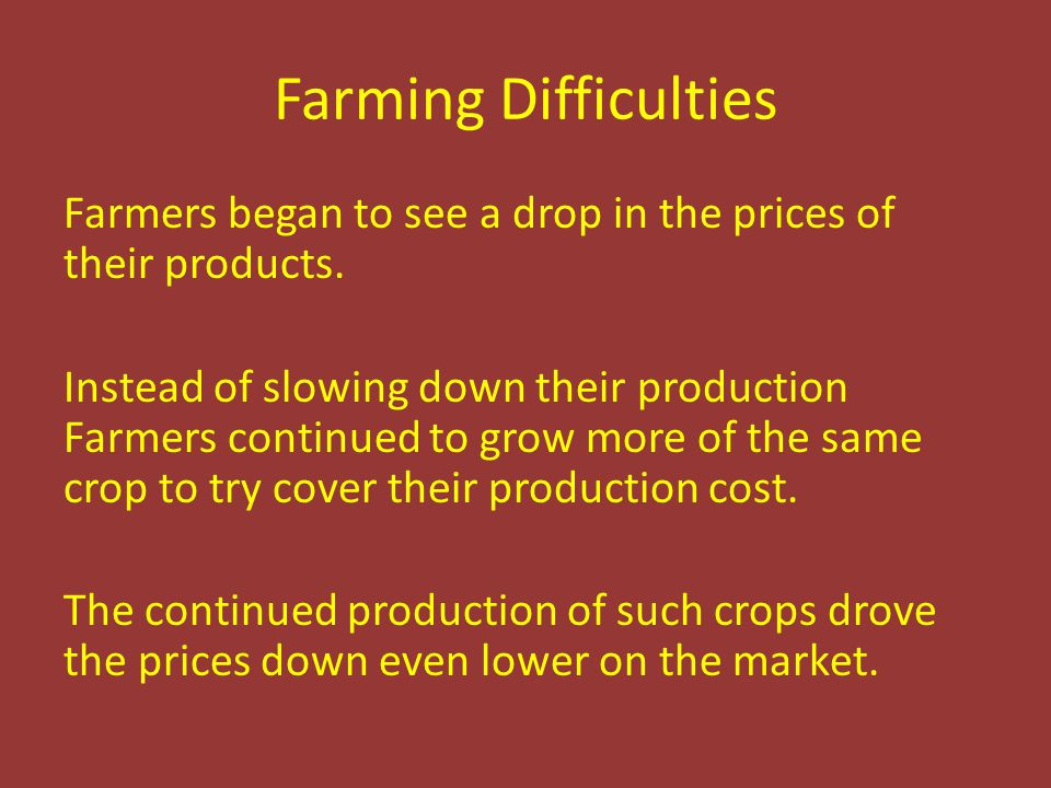 Farming Difficulties