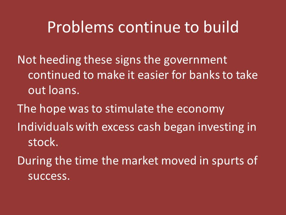Problems continue to build