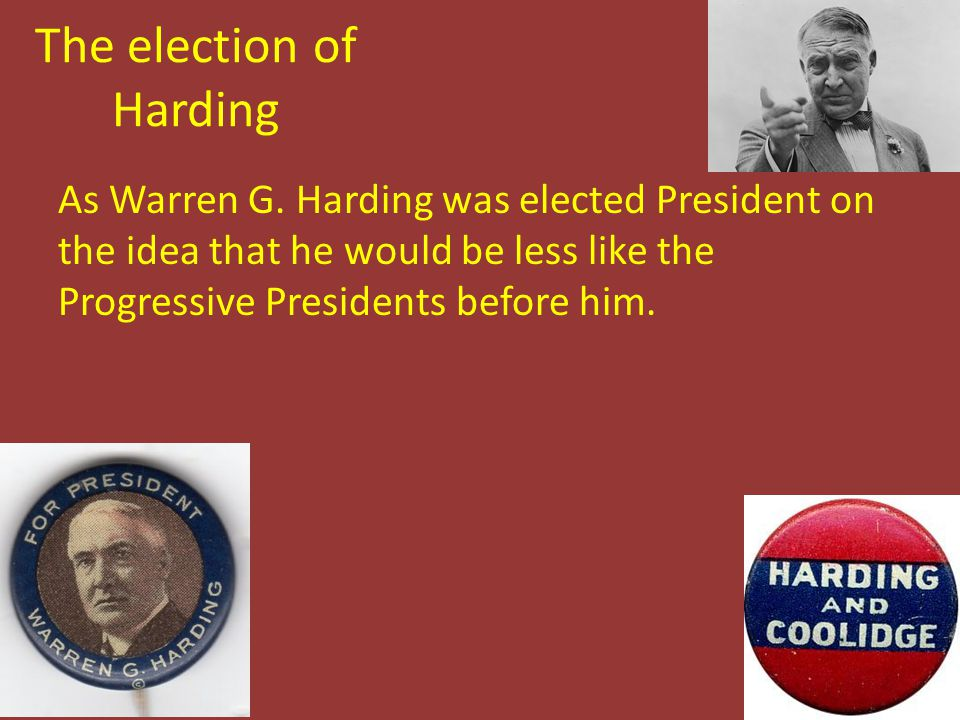 The election of Harding