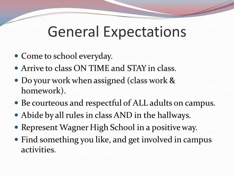 General Expectations Come to school everyday.