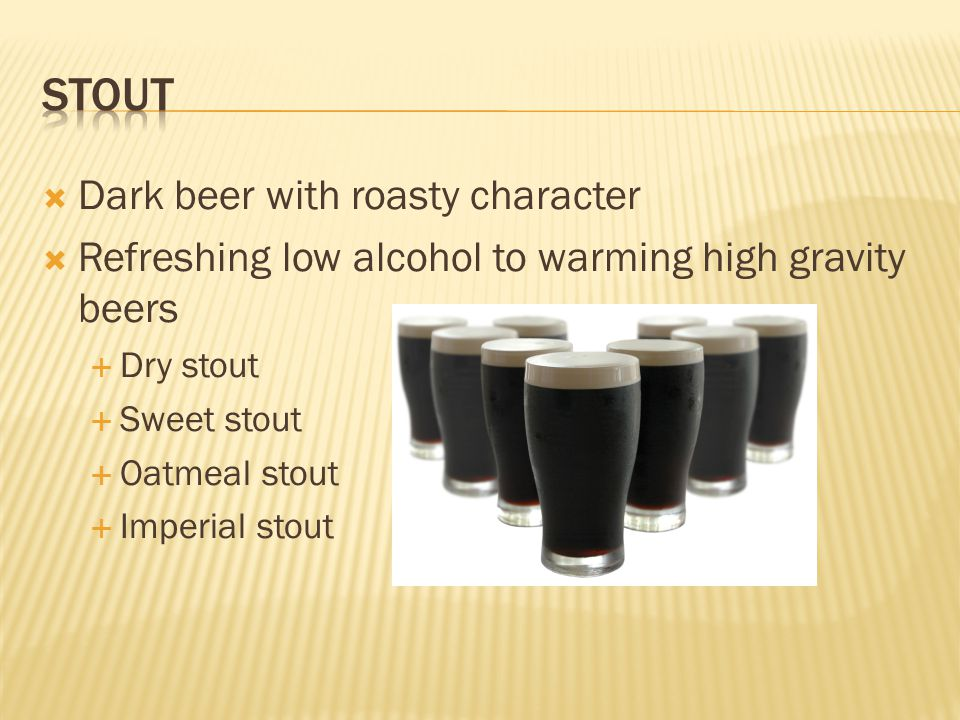 Stout Dark beer with roasty character