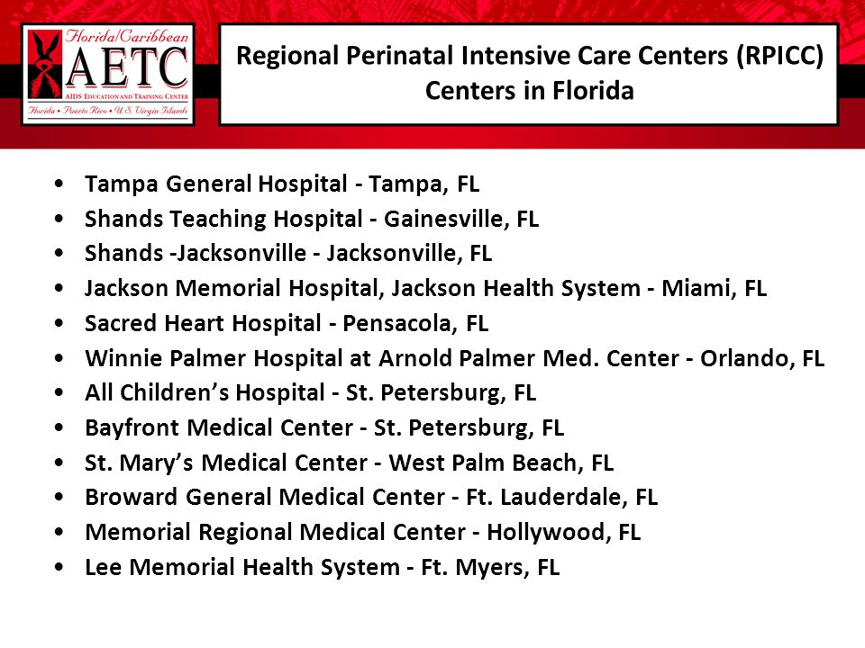 Regional Perinatal Intensive Care Centers (RPICC) Centers in Florida